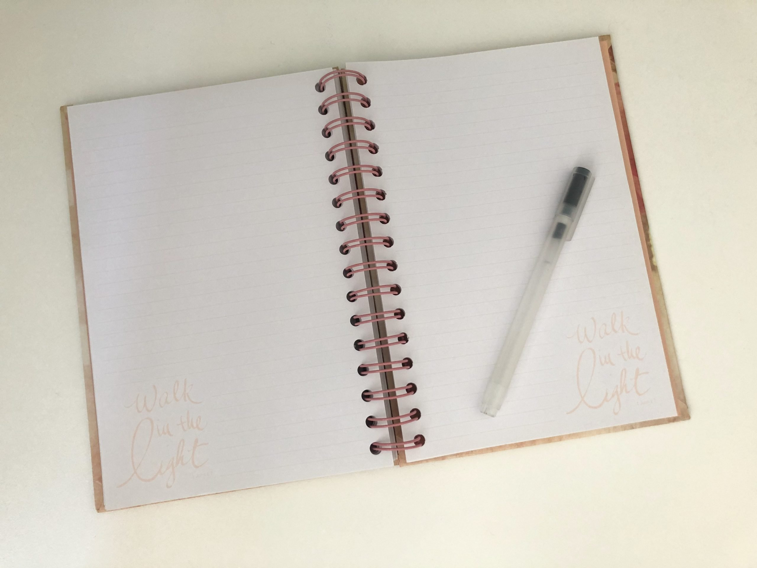 picture of my journal open to two blank pages, a pen rests on it. ready to start writing morning pages.
